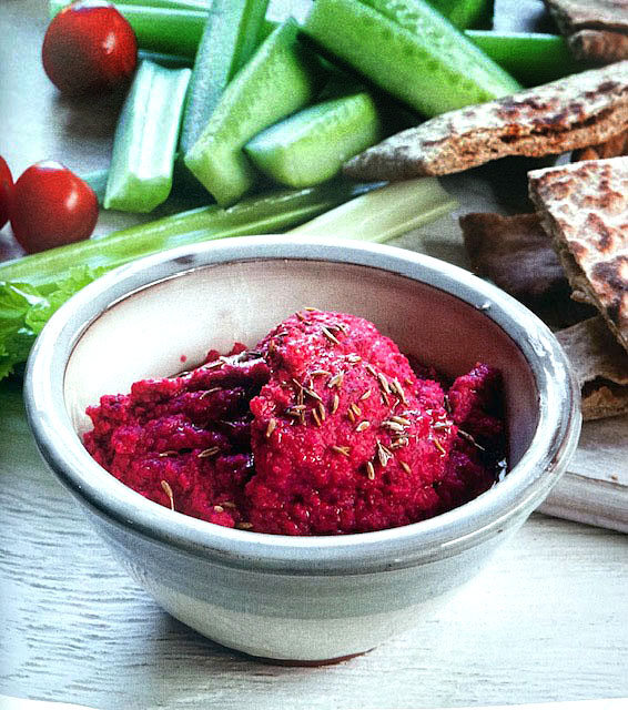 Beetroot hummus with cucumber and cherry tomatoes