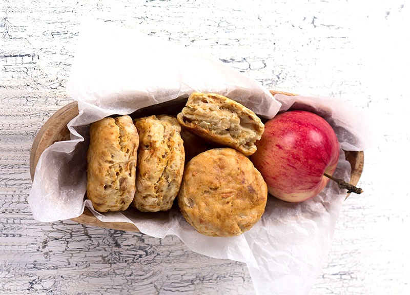 Cheese and apple scones in a basket