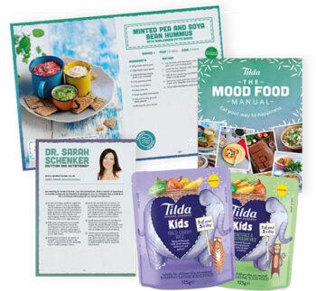 Tilda Mood Food manual and Tilda Kids product packets
