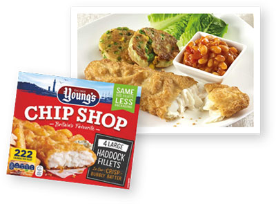 Youngs Chip Shop Haddock packet and recipe dish